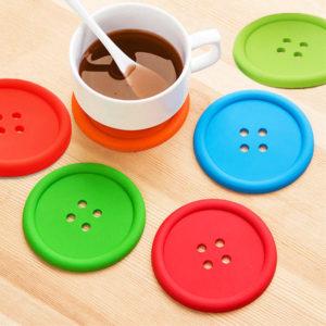 2 Soucoupes bouton pour tasse | Vert
