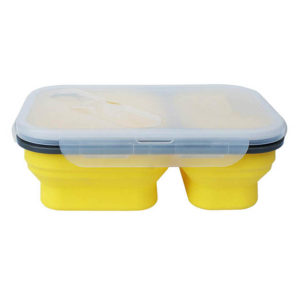 Boîte à repas pliable avec 2 compartiments Jaune 00
