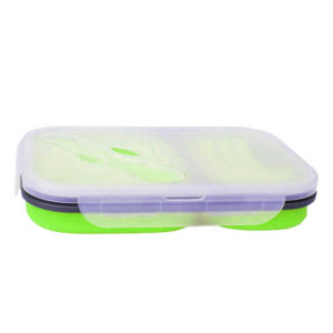Collapsible lunch box 2 compartments | Green