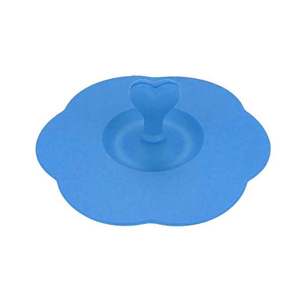 Couvercle en silicone avec porte-cuillère Bleu 01