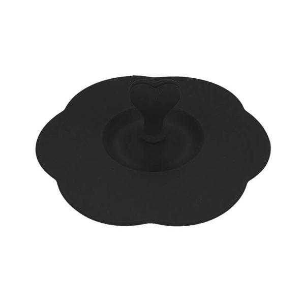 Couvercle en silicone avec porte-cuillère Noir 01