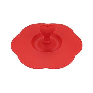 Couvercle en silicone avec porte-cuillère Rouge 01