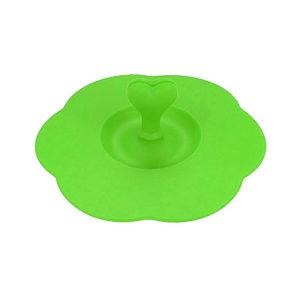 Couvercle en silicone avec porte-cuillère vert 01