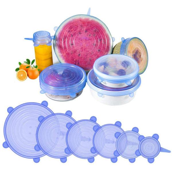 6 Stretch blue lids set from Ø 6,5cm to Ø 21cm