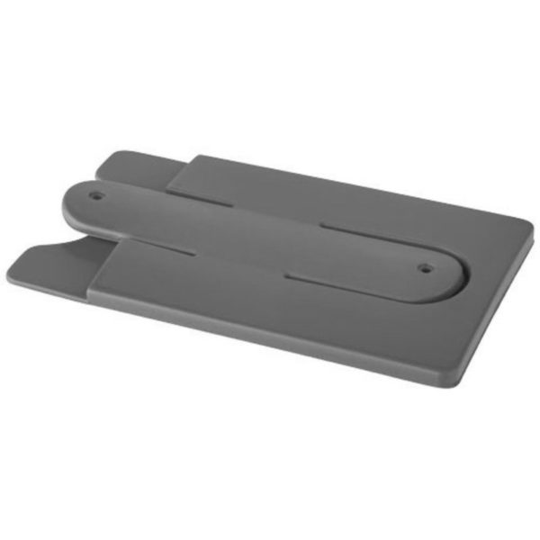 Support de téléphone et de cartes en silicone gris 01