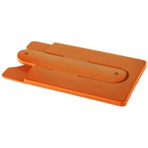 Support de téléphone et de cartes en silicone orange 01