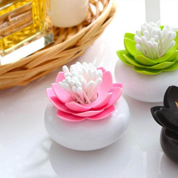 Lotus-shaped cotton swab dispenser | Black & White