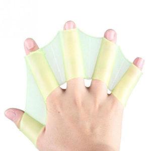Gants palmés en silicone Jaune 02