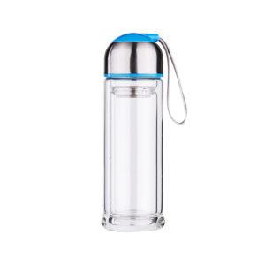 Bouteille en verre infuseur à double paroi Bleu 01