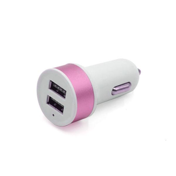 Chargeur de voiture 2 ports USB_Rose 01