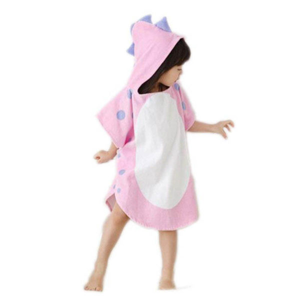 Children's bathrobe Dinosaur | Pink