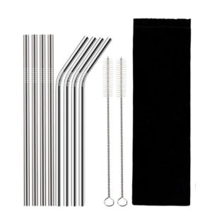 Set of 8 straws in stainless steel with brush