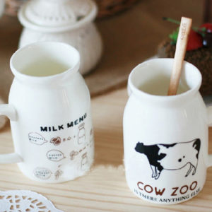 Ceramic milk jug with spoon 200ml | Cow