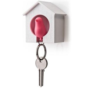 Porte-clés sifflet Oiseau_Blanc-Rose_01