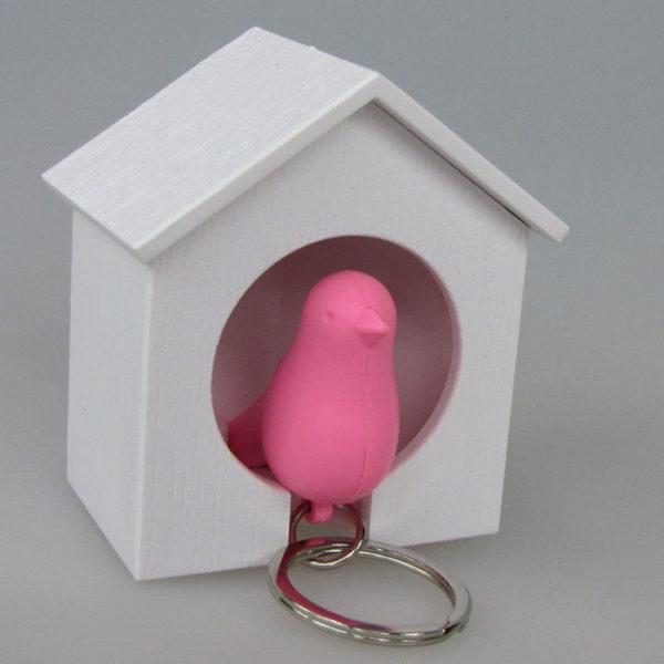 Porte-clés sifflet Oiseau_Blanc-Rose_02