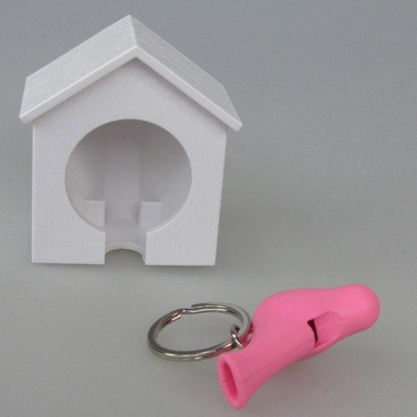Porte-clés sifflet Oiseau_Blanc-Rose_04