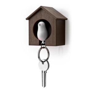 Porte-clés sifflet Oiseau_Marron-Blanc_01