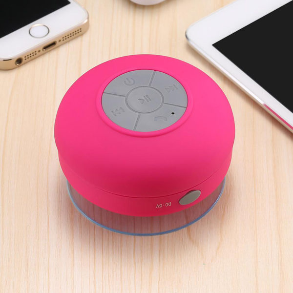 Enceinte Bluetooth colorée pour salle de bain Rose 02
