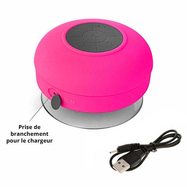 Enceinte Bluetooth colorée pour salle de bain Rose 03