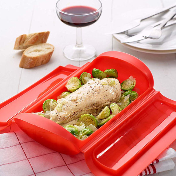 Grande papillote 650ml en silicone Rouge 02