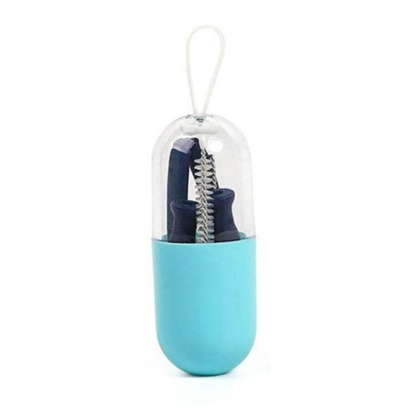 Paille pliable de poche en silicone réutilisable Bleu 01