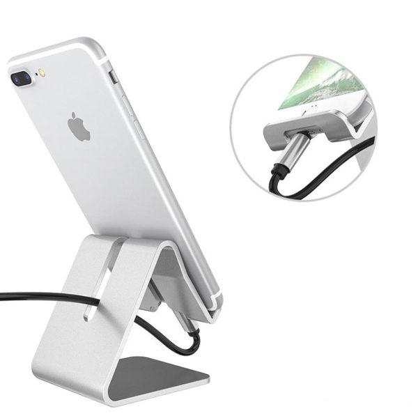 Support de smartphone en metal Gris 02