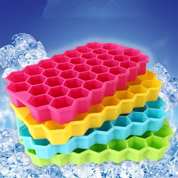 Hexagonal silicone ice cube tray | White