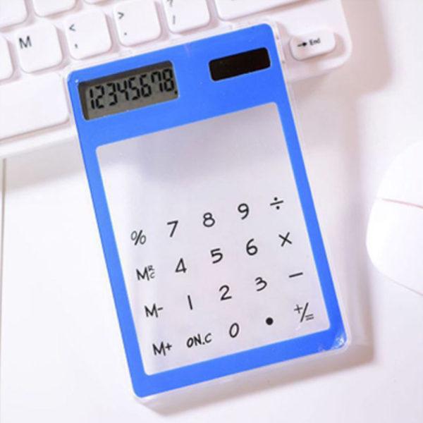 Calculatrice solaire colorée transparente Bleu 02