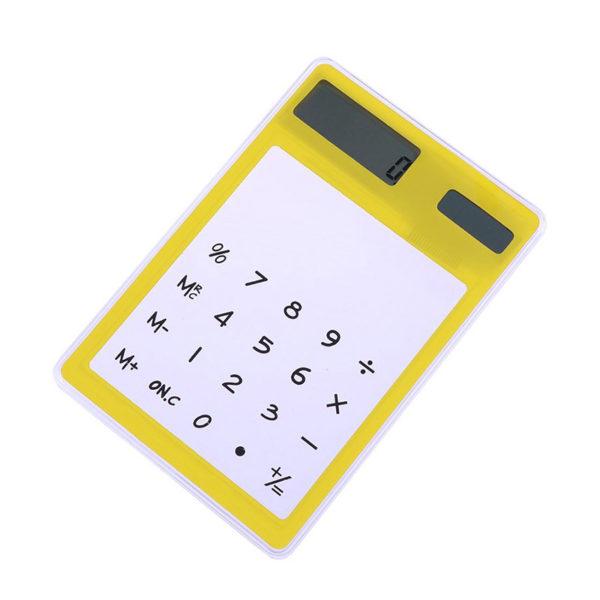 Calculatrice solaire colorée transparente Jaune 01