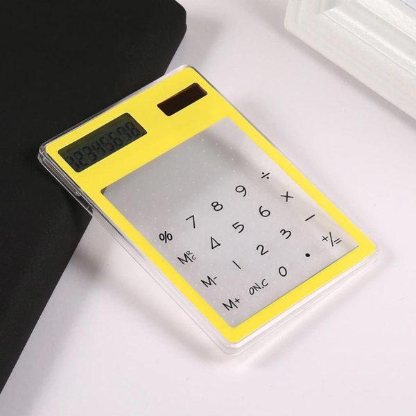 Calculatrice solaire colorée transparente Jaune 02