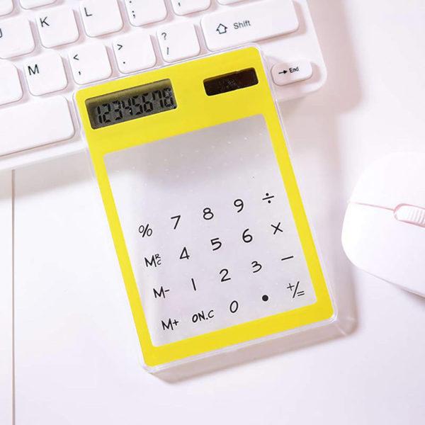 Calculatrice solaire colorée transparente Jaune 03