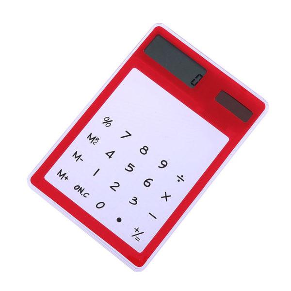 Calculatrice solaire colorée transparente Rouge 01