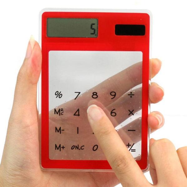 Calculatrice solaire colorée transparente Rouge 02