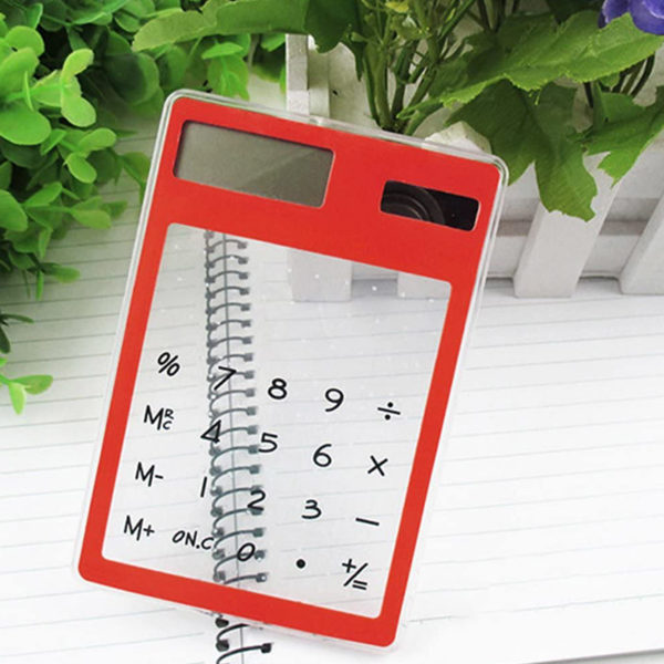Calculatrice solaire colorée transparente Rouge 04