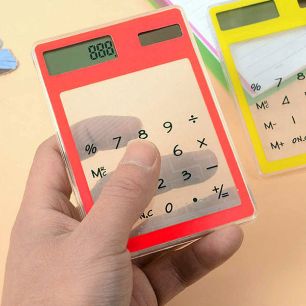 Calculatrice solaire colorée transparente Rouge 05