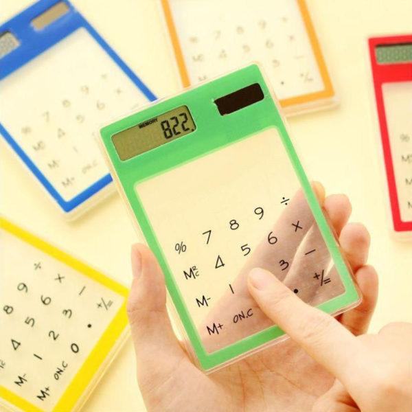 Calculatrice solaire colorée transparente Vert 02