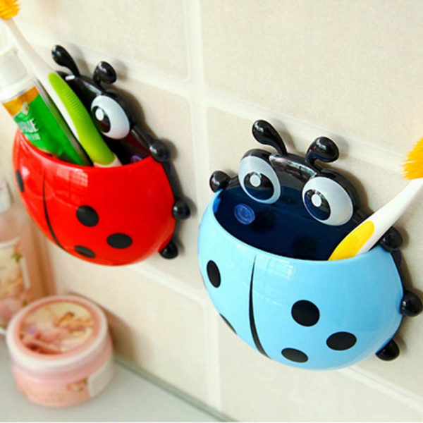 Adorable Ladybug toothbrush holder | Red