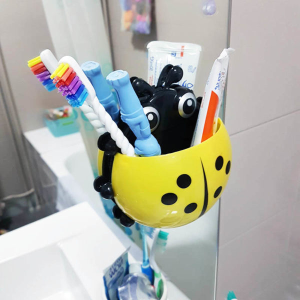Adorable Ladybug toothbrush holder | Yellow