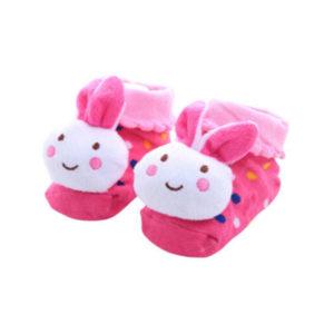 Adorables chaussettes pour bébé_Lapin Rose 01