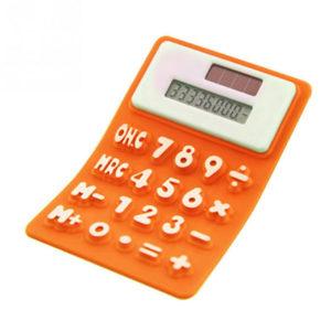 Calculatrice solaire souple en silicone_Orange 01