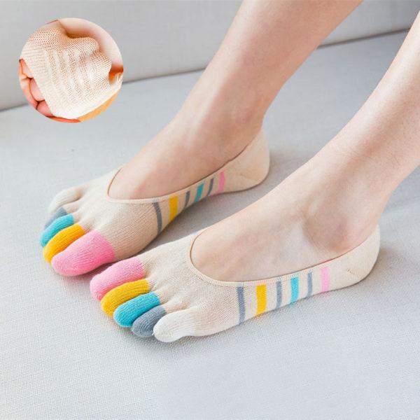 Chaussettes ludiques avec doigts de pied_Beige 01