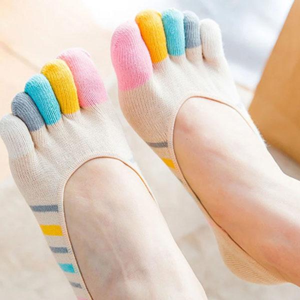 Chaussettes ludiques avec doigts de pied_Beige 02