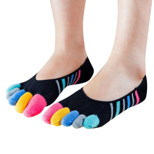 Pair of playful socks with toes | Black