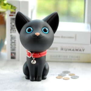 Adorable Cat Piggy Bank | Black