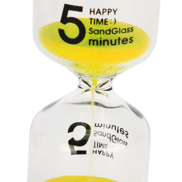 Set of 6 colored glass hourglasses of 1, 3, 5, 10, 15 to 30 minutes
