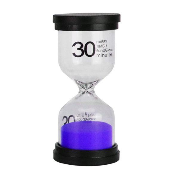 Adorable colored glass hourglass 30 min | Purple