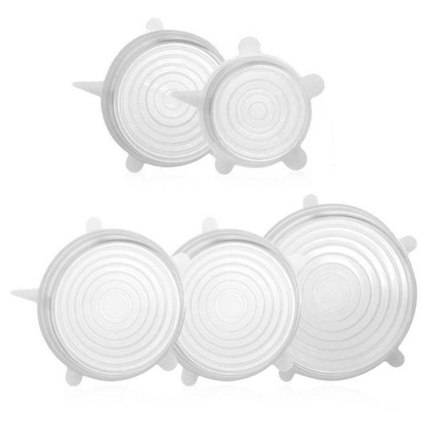 Lot de 5 couvercles extensibles en silicone de Ø 9cm à Ø 21cm