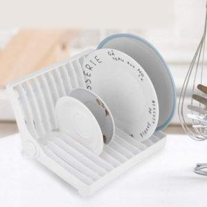 Compact Folding Mini Dish Drainer | White