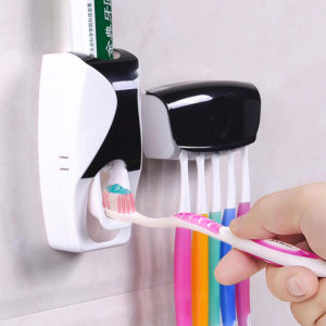 Toothpaste Dispenser and Toothbrush Holder | Black