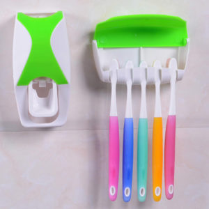 Toothpaste Dispenser and Toothbrush Holder | Green